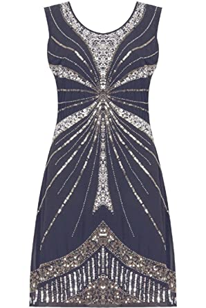 22d65c6afa0b7 1920 s Vintage Style Charleston Flapper Gatsby Navy Heavily Embellished  Sequin Shift Dress ...