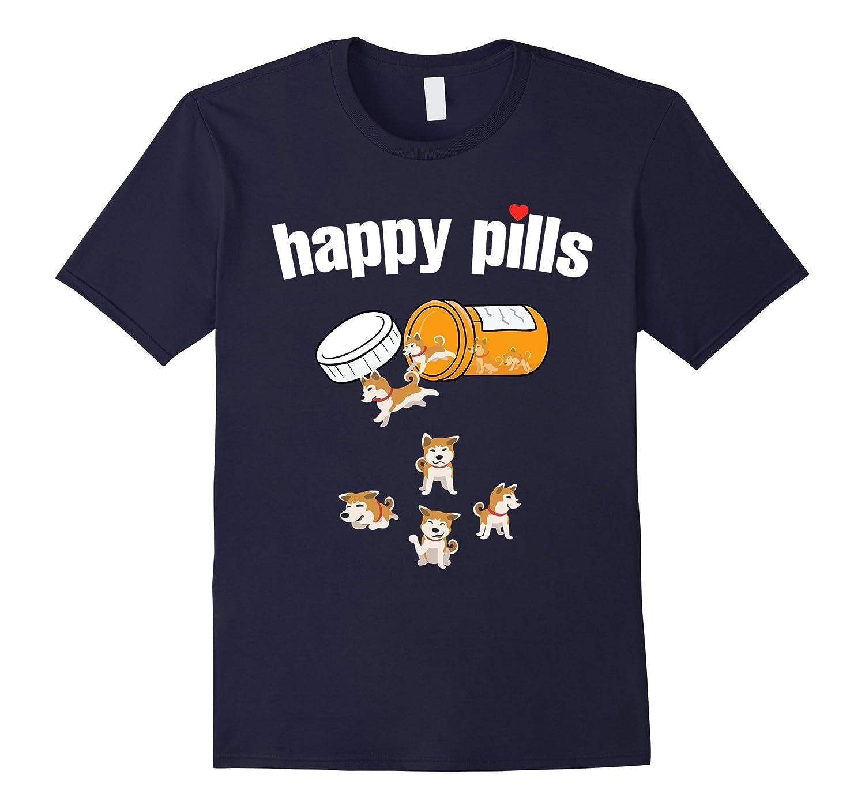 Akita Inu Happy Pills Tshirt-Art