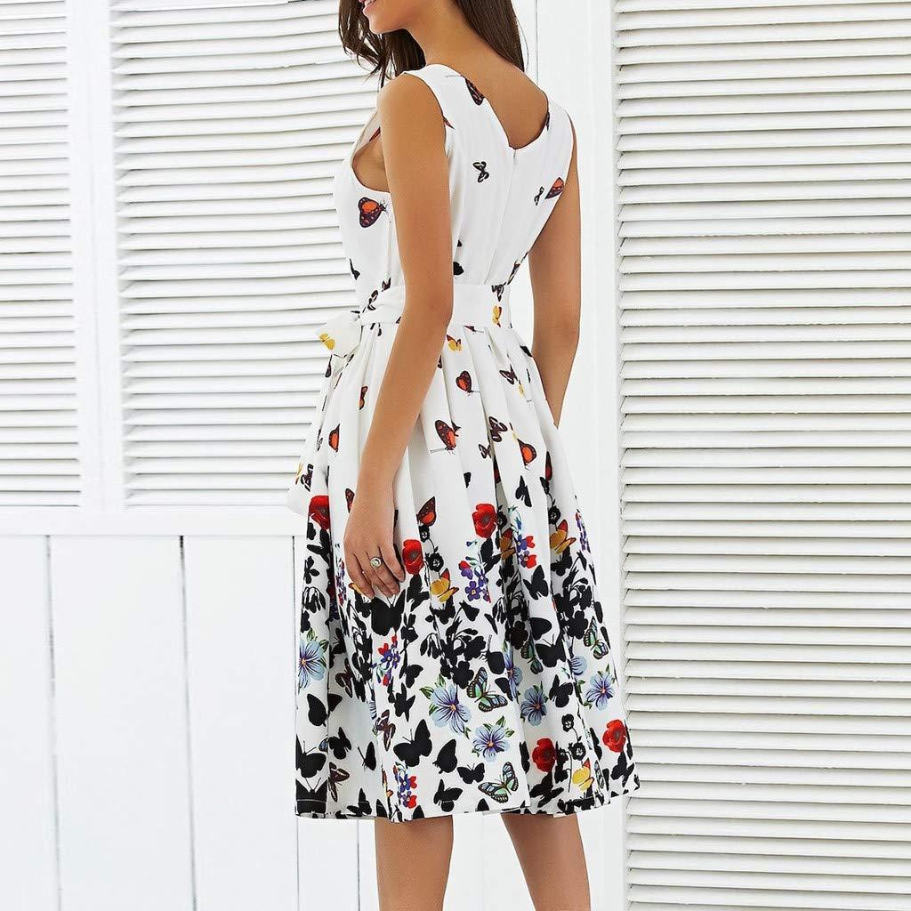 Robe de Soiree Femme O-Neck Imprim/é Papillon Robe de Ceremonie Maxi Robe avec Ceinture Jupe Trap/èze /Él/égant Party Dress Vacances Jupons Jupe JiaMeng