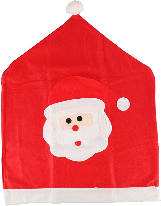 Navidad Santa cara comedor cocina silla cubierta gorro rojo y fieltro de color blanco Navidad decoración de fiesta Festive familia Fun, 1 pack: Amazon.es: Hogar