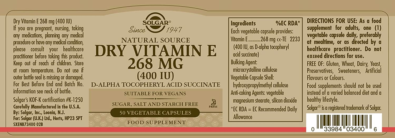 SOLGAR - VITAMINA E SECA 400 UI 50c 083400: Amazon.es: Salud y cuidado personal
