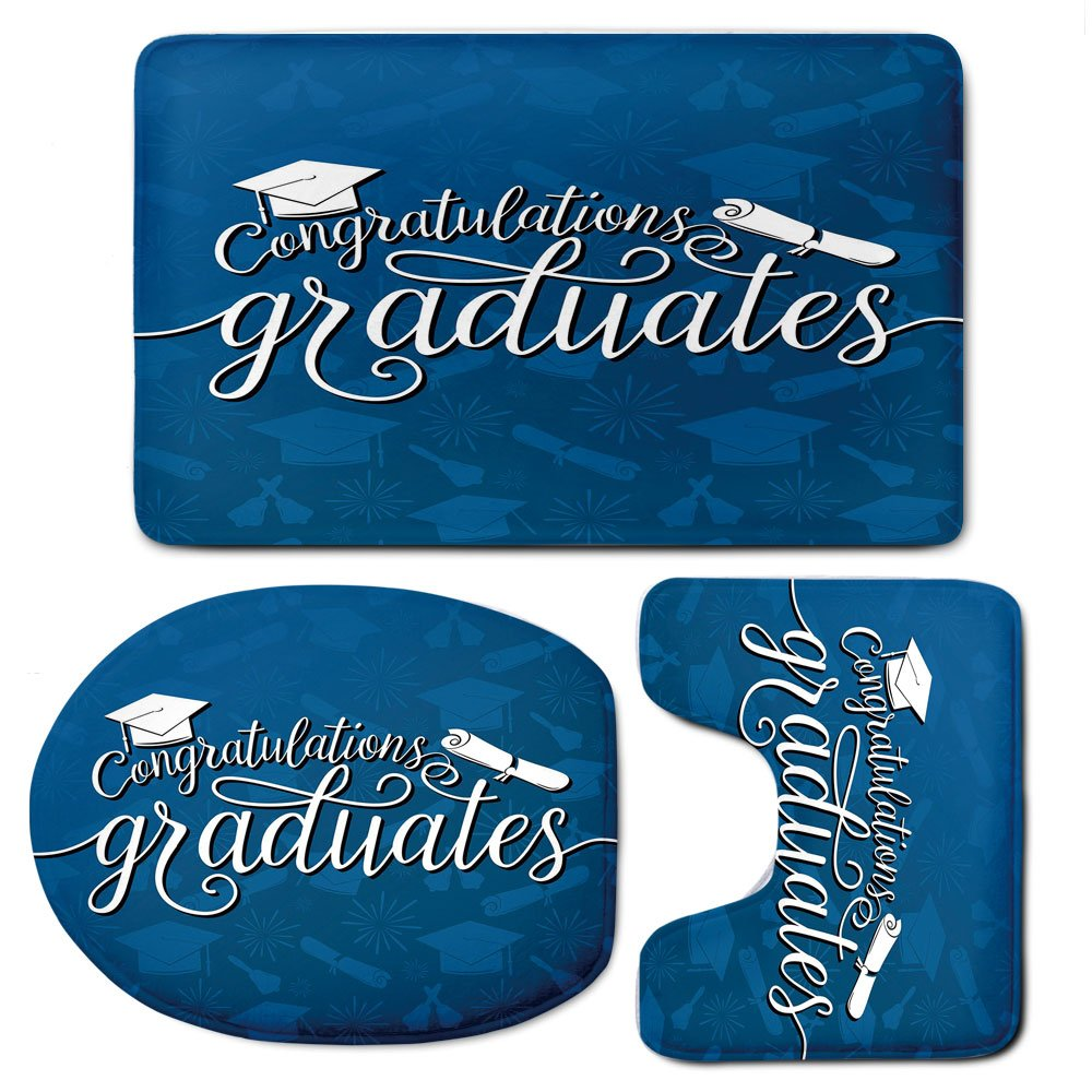 3 Piece Bath Mat Rug Set,Graduation-Decor,Bathroom Non-Slip Floor Mat,College-Celebration-Ceremony-Certificate-Diploma-Square-Academic-Cap,Pedestal Rug + Lid Toilet Cover + Bath Mat,Blue-and-White