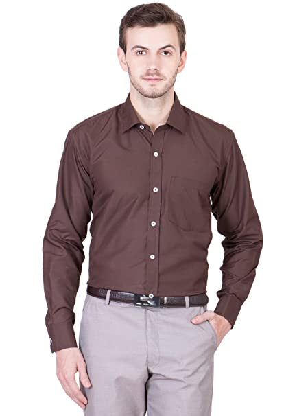 635d9d8b12 AKAAS Men s CheckBrown Slim Fit Formal Shirt Brown  Amazon.in  Clothing    Accessories