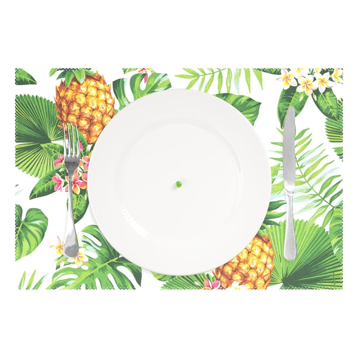 wellleeパイナップルプレースマットTropical Palm Leavesテーブルマット12