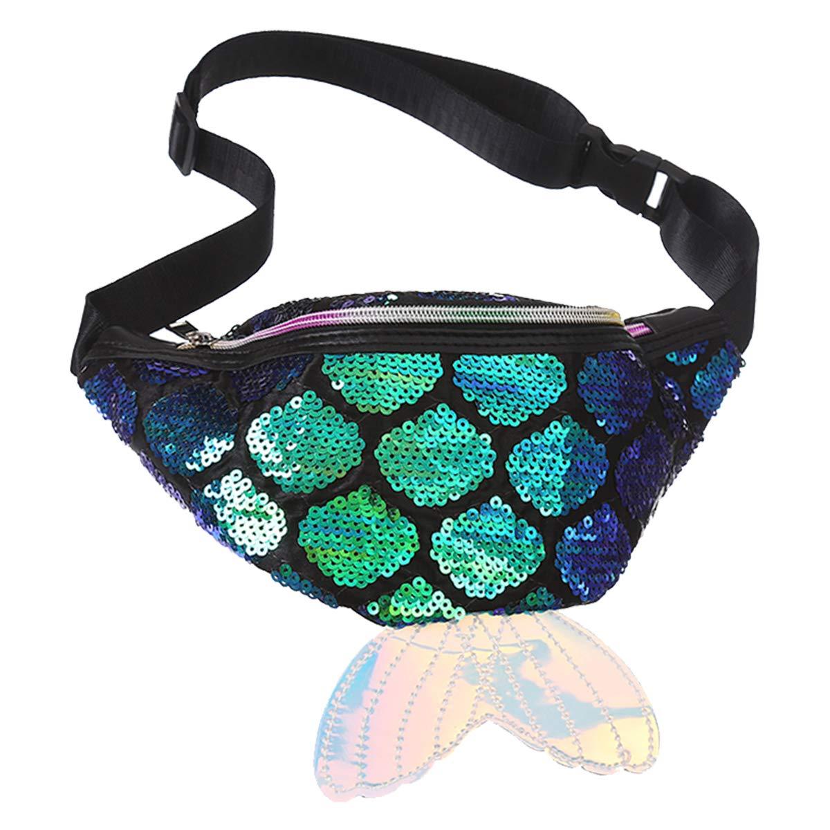 26949d28b3bd Fanny Pack for Kids,LIVEBOX Mermaid Sequin Waist Bag Girl Reversible Waist  Pack Glitter Sling Bag with Adjustable Belt for Beach Travel, Party, ...