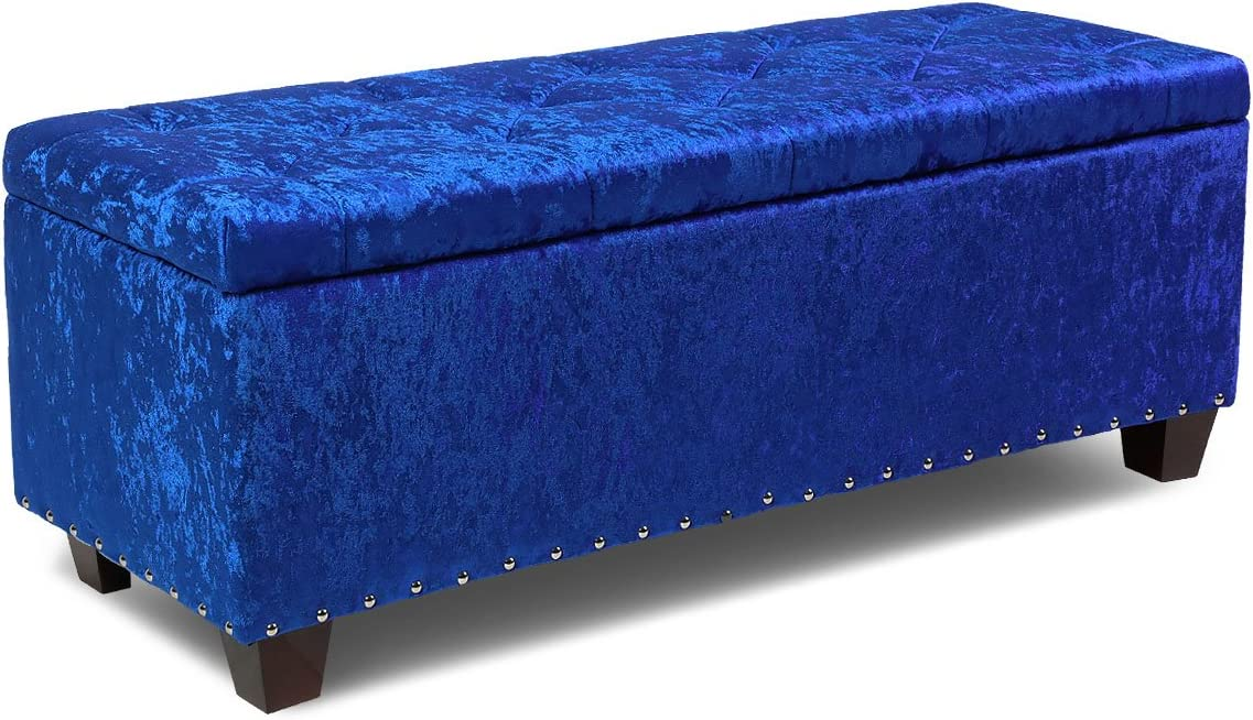 Magshion Rectangular Storage Ottoman Bench Tufted Footrest Lift Top Pouffe Ottoman, Coffee Table, Seat, Foot Rest, and More 42 , Microfiber Blue