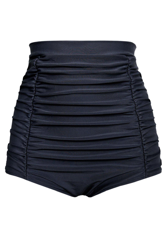 Futurino Women's Retro High Waisted Bikini Bottom Ruched Swim Short Tankinis