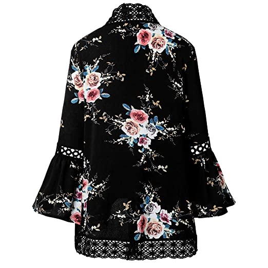 SMALLE ◕‿◕ Women Lace Floral Open Cape Casual Coat Blouse Kimono Jacket Cardigan at Amazon Womens Clothing store: