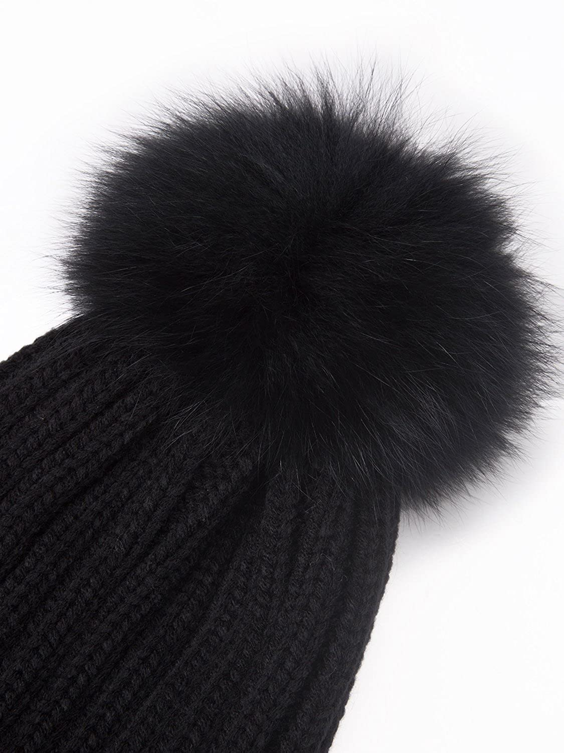 1e687701512 LITHER Winter Knit Hat Real Fox Fur Pom Pom Womens Girls Knit Beanie Hat  Black at Amazon Women s Clothing store