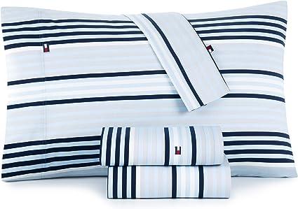 "Tommy Hilfiger QUEEN sheet set navy stripe XDeep to 15/"""