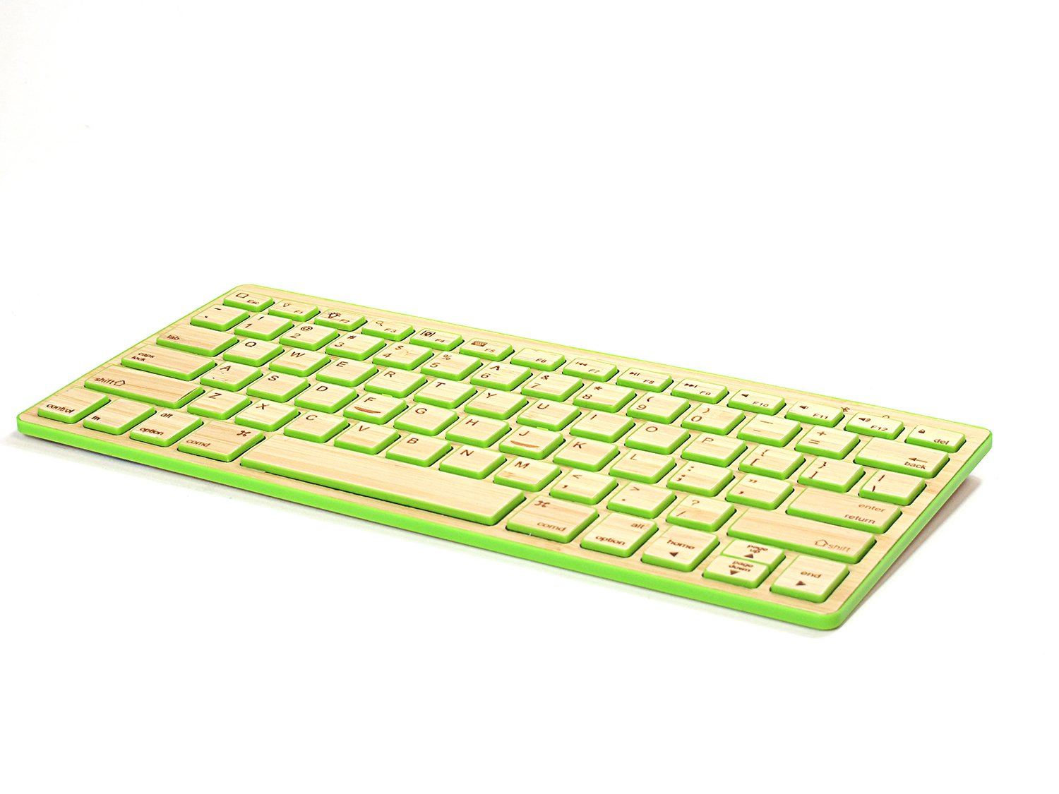 Impecca Designer Bamboo Wood Slim Portable Bluetooth Wireless Keyboard for Tablets, ipad, Smartphone and PC Computer with Built in Rechargeable Battery(Green)