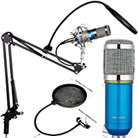 Techtest Studio Microphone Bm 800 Condenser With Mic Stand And Pop Filter For Sound Recording Home Voice Singing Suspension Scissor Arm Tripod (Blue)