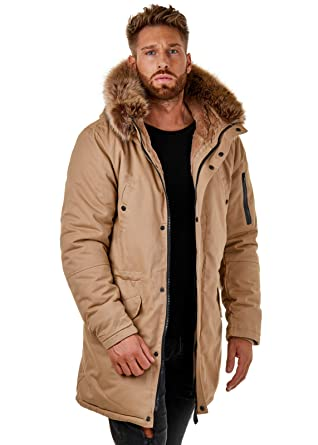 EightyFive Herren Parka Winterjacke Kunstfell Teddyfell Schwarz Beige  EF1720  Amazon.de  Bekleidung 3664878722
