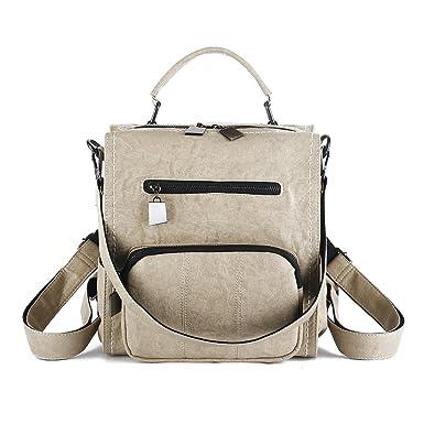 Amazon.com  Mynos Women Backpack Purse Leather Handbag Bag Ladies Rucksack  Travel Tote Shoulder Bag (Beige)  Clothing 5b3572325fb26