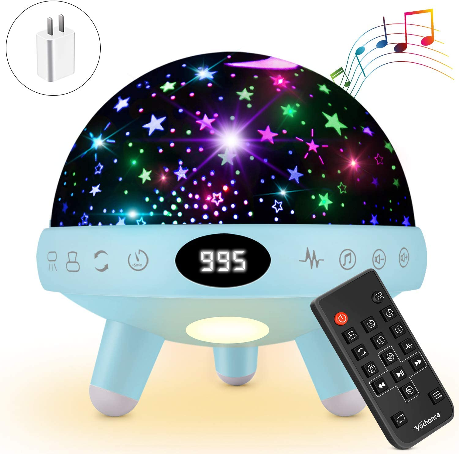 Yachance Baby Star Projector Night Light for Kids with Music White Noise Sound Machine Baby Sleep Soother Nursery Bedside Lamp 9 Natural Sounds 20 Lullabies Remote Control Adapter Timer (Blue)