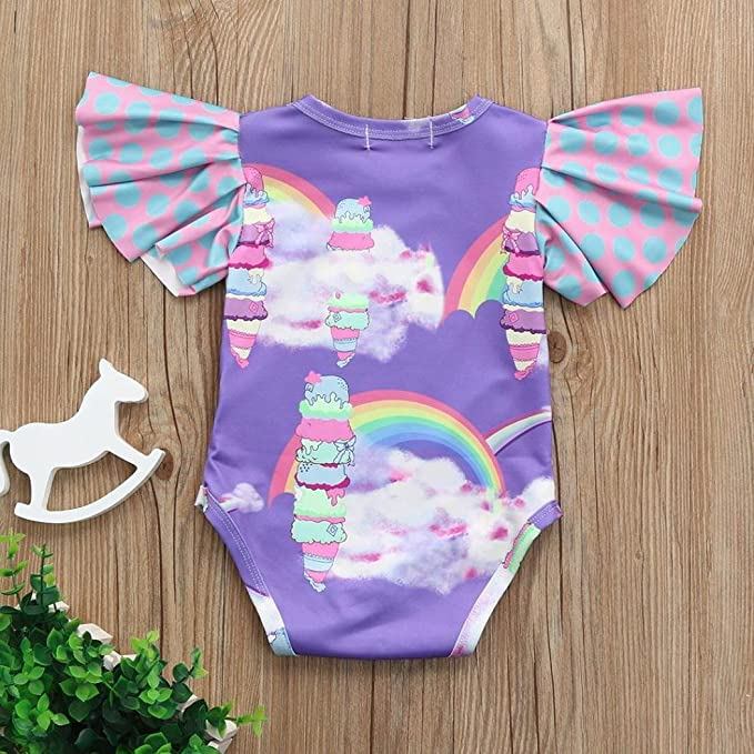 0865374e66fc Amazon.com  Baby Girls Romper Jumpsuit Cute Rainbow Print Playsuit Summer  Outfit Clothes  Clothing
