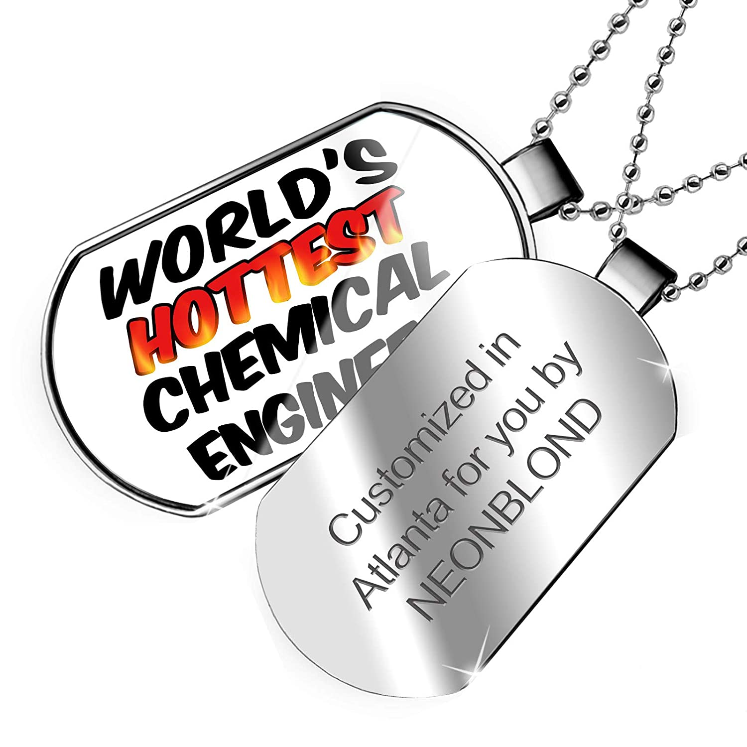 NEONBLOND Personalized Name Engraved Worlds Hottest Chemical Engineer Dogtag Necklace