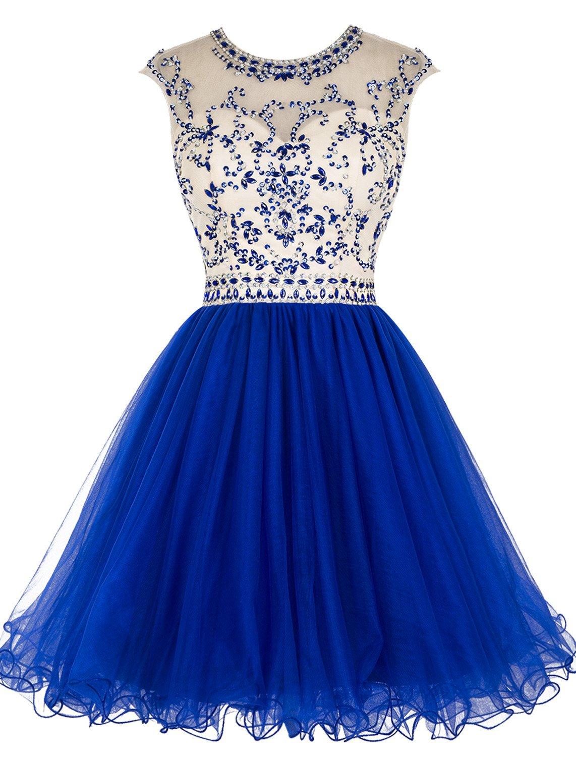 ALAGIRLS Beaded Prom Dress Short Tulle Homecoming Dress Hollow Back Royal Blue US20Plus