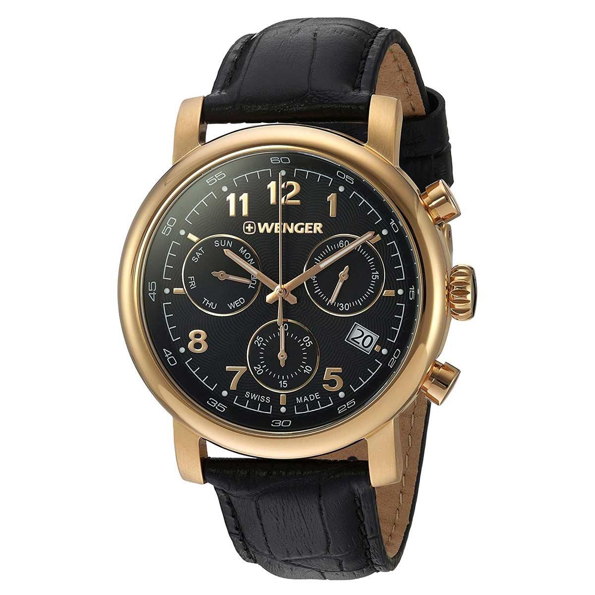 Amazon.com  Wenger 01.1043.107 Men s Urban Classic Chrono Black Dial Black  Leather Strap Watch  Watches e2ad480818a