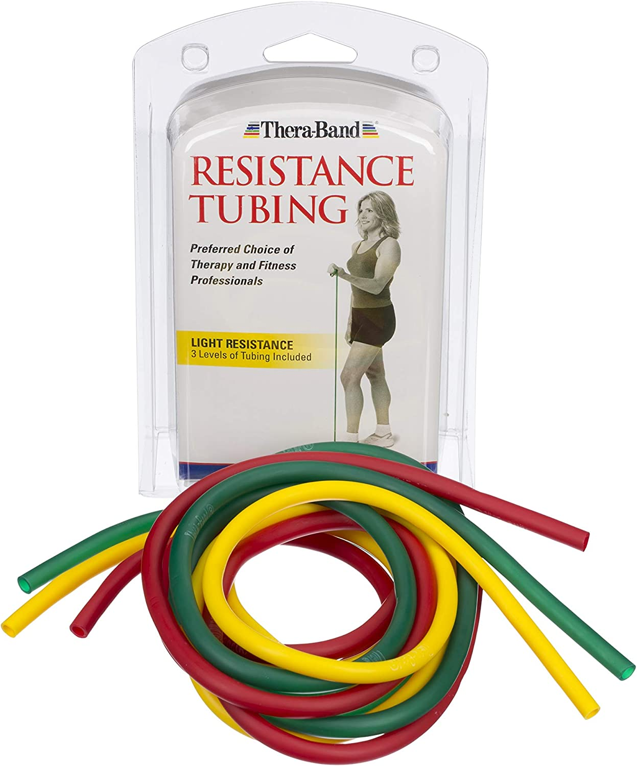 TheraBand Professional Latex Resistance Tubing for Upper Body, Lower Body, and Core Exercise, Physical Therapy, Lower Pilates, at-Home Workouts, and Rehab