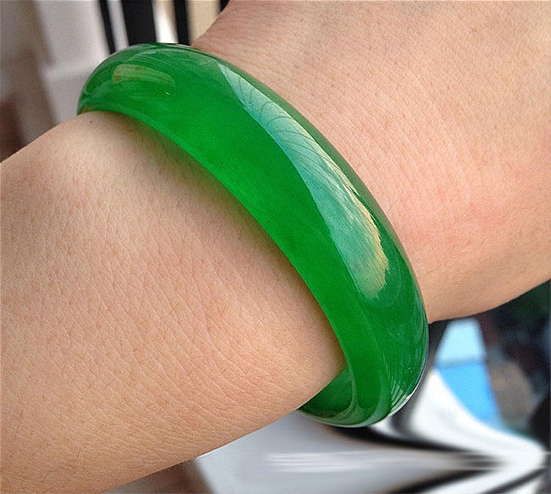 yigedan Superbe bracelet rigide fait main en jade naturelle verte class/ée AAA