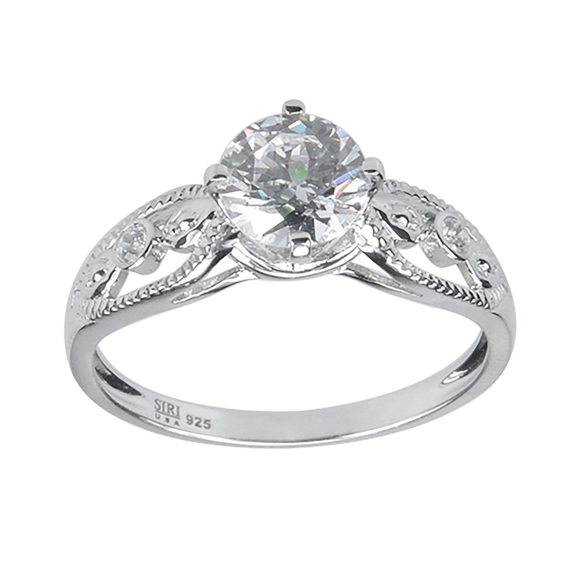 Aura by TJM Sterling Silver 1.40 cts White CZ Bridal Wedding Ring