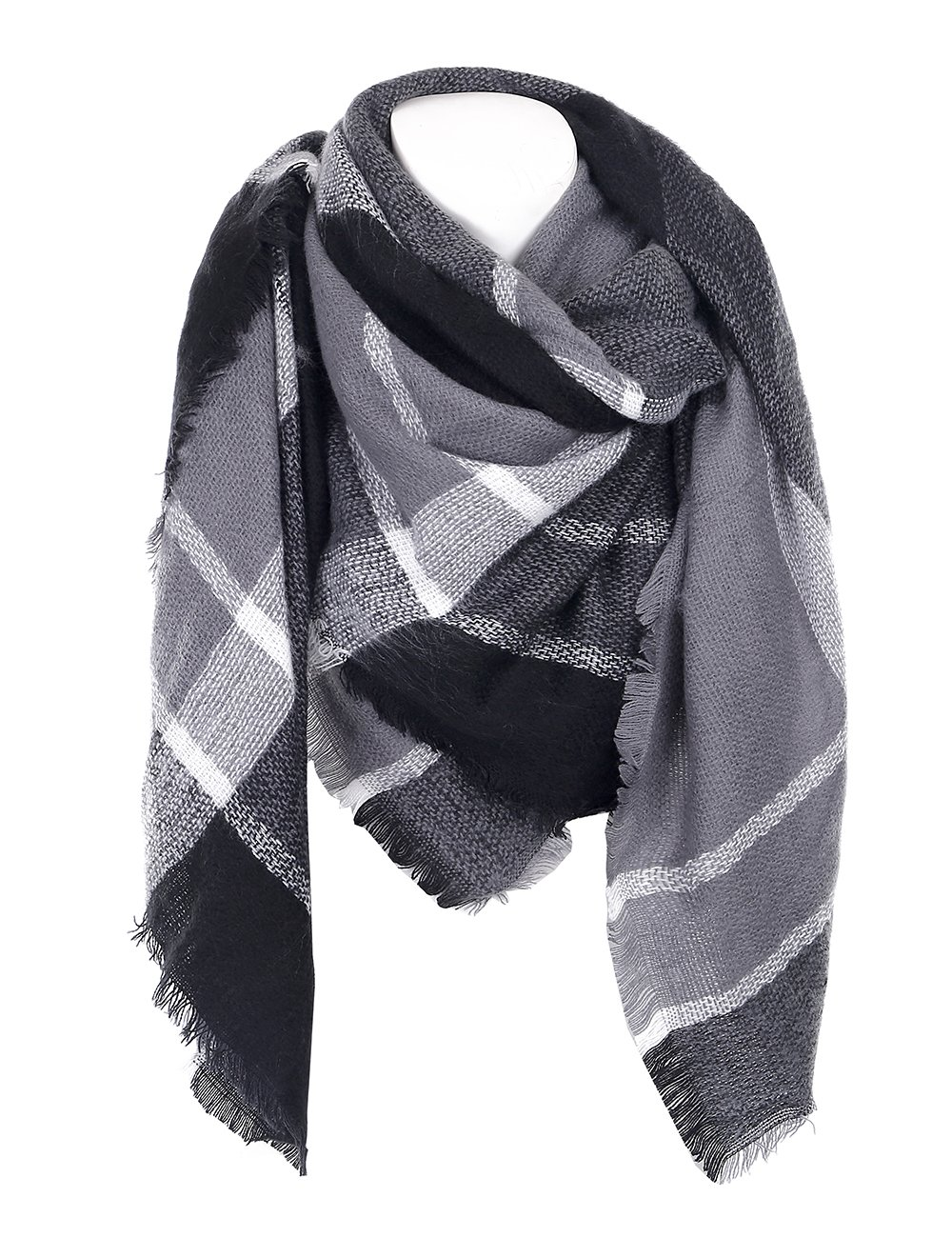 Cozy Checked Plaid Blanket Scarf - Soul Young Tartan Stylish Cape Wrap Shawl for Women and Men(One Size,Black)