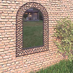 vidaXL Garden Decorative Arch Wall Mirror, Metal Frame Mirror Wall Decor, Vintage-Look Hanging Wall Mirror Decor for Gardens, Patios, and Other Outdoor Space 19.6x31.4 inch Black