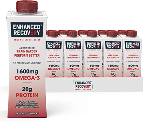 Enhanced Recovery Omega-3 Sports Drink for Athletes Post Workout Complete Muscle Recovery Whey Protein, Collagen, Carnitine, Antioxidants Gluten Free, No Added Sugar 8.4 Fl Oz, 12 Pack