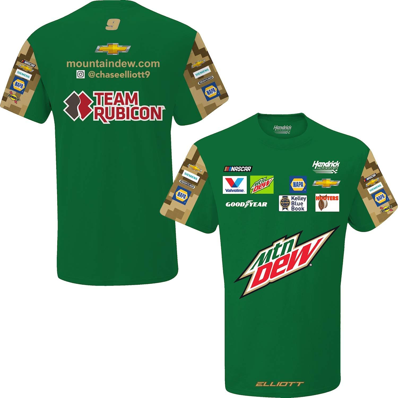 Chase Elliott T Shirt >> Smi Properties Chase Elliott 2019 Mtn Dew Sublimated Pit Crew Nascar T Shirt