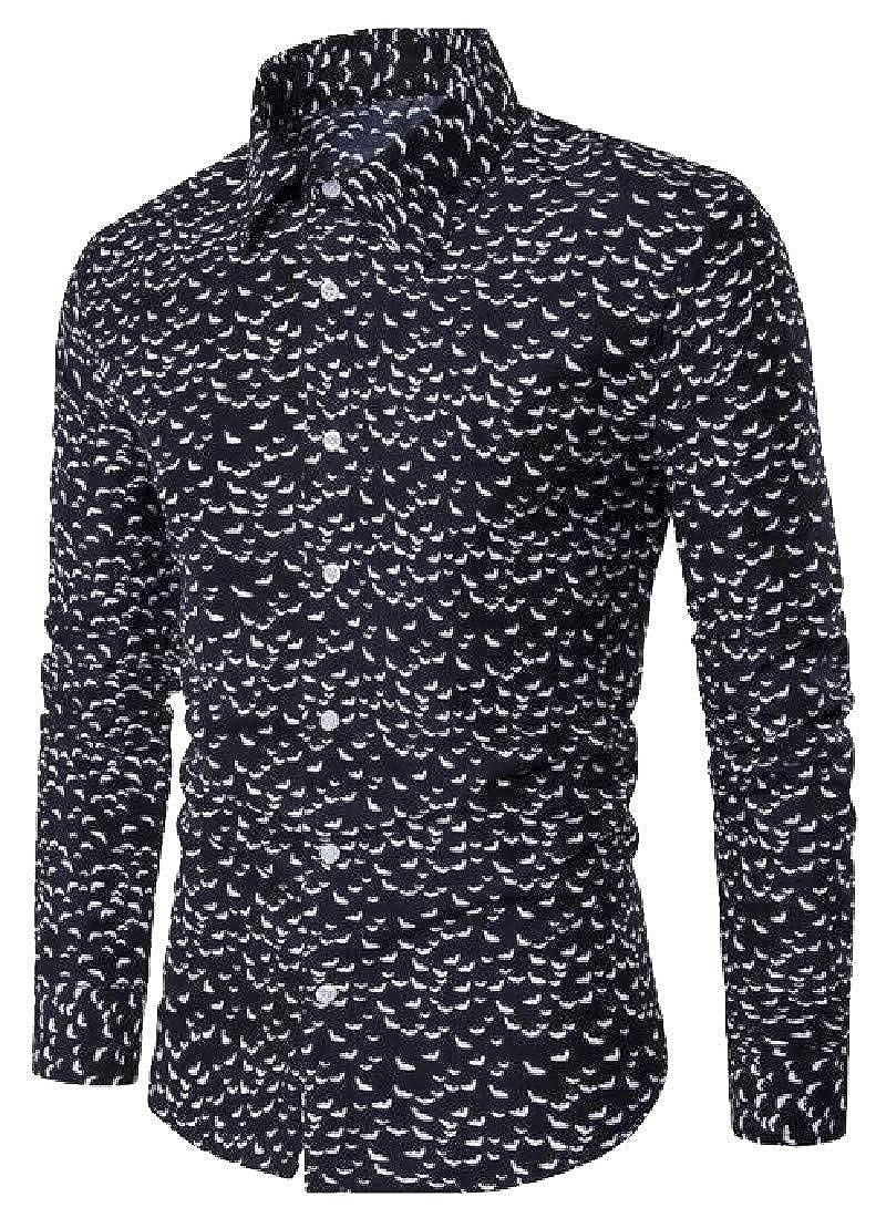 Joe Wenko Mens Lapel Neck Plain Long Sleeve Printed Button Down Shirts