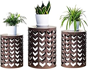 Y&M Nesting Side Table, Set of 3 Stacking Coffee Table for Living Room, Indoor End Tables, Outdoor Garden Stool with Heavy Duty Modern Industrial Decor - Pure Brown (Ship from US)