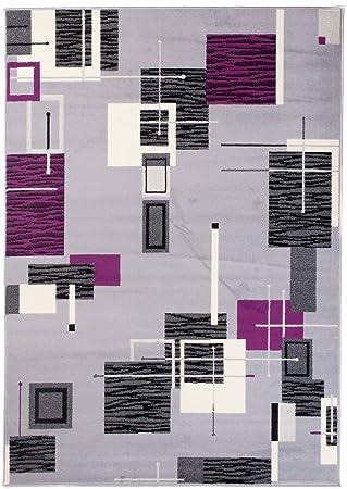 Tapis Scarlet Salon Chambre Moderne - Couleur Gris Violet - Motifs ...