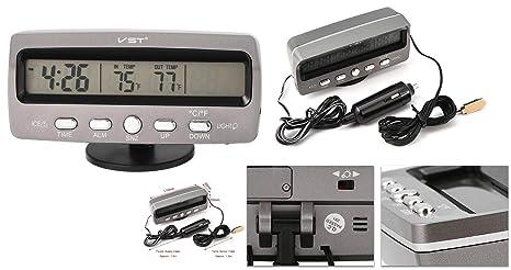 takestop Reloj Despertador ws1572 Digital Multifunción Voltímetro Coche Máquina Coche Tensión Termómetro Temperatura