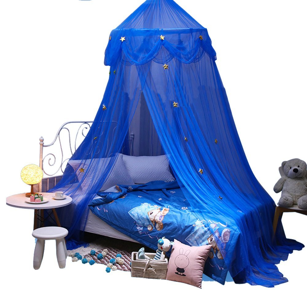 Bed Canopy Kids, Star Children Dome Mosquito Net Princess Nursery Room Decoration Indoor Outdoor Play Reading Tent (Black) Nuanyuer