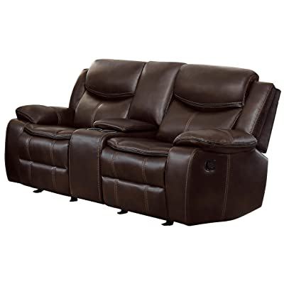 Amazon Com Homelegance Plush Seating Faux Leather Brown