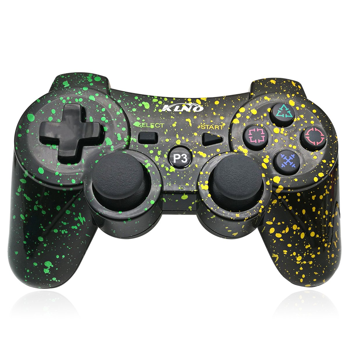 PS3 Controller Wireless Dualshock Joystick - KLNO Bluetooth Gamepad Sixaxis, Super power, USB Charger, Sixaxis, Dualshock3 including 1 cable (Spot Art Color) by KLNO (Image #1)