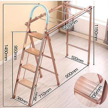GJ Escalera multifunción Rack de Secado Piso Plegable Interior Balcón Colgador Grosor Exterior Lote de Secado de Doble Uso Rack Multifuncional de Escalera de Doble Uso (Color : Oro, Tamaño : A2):