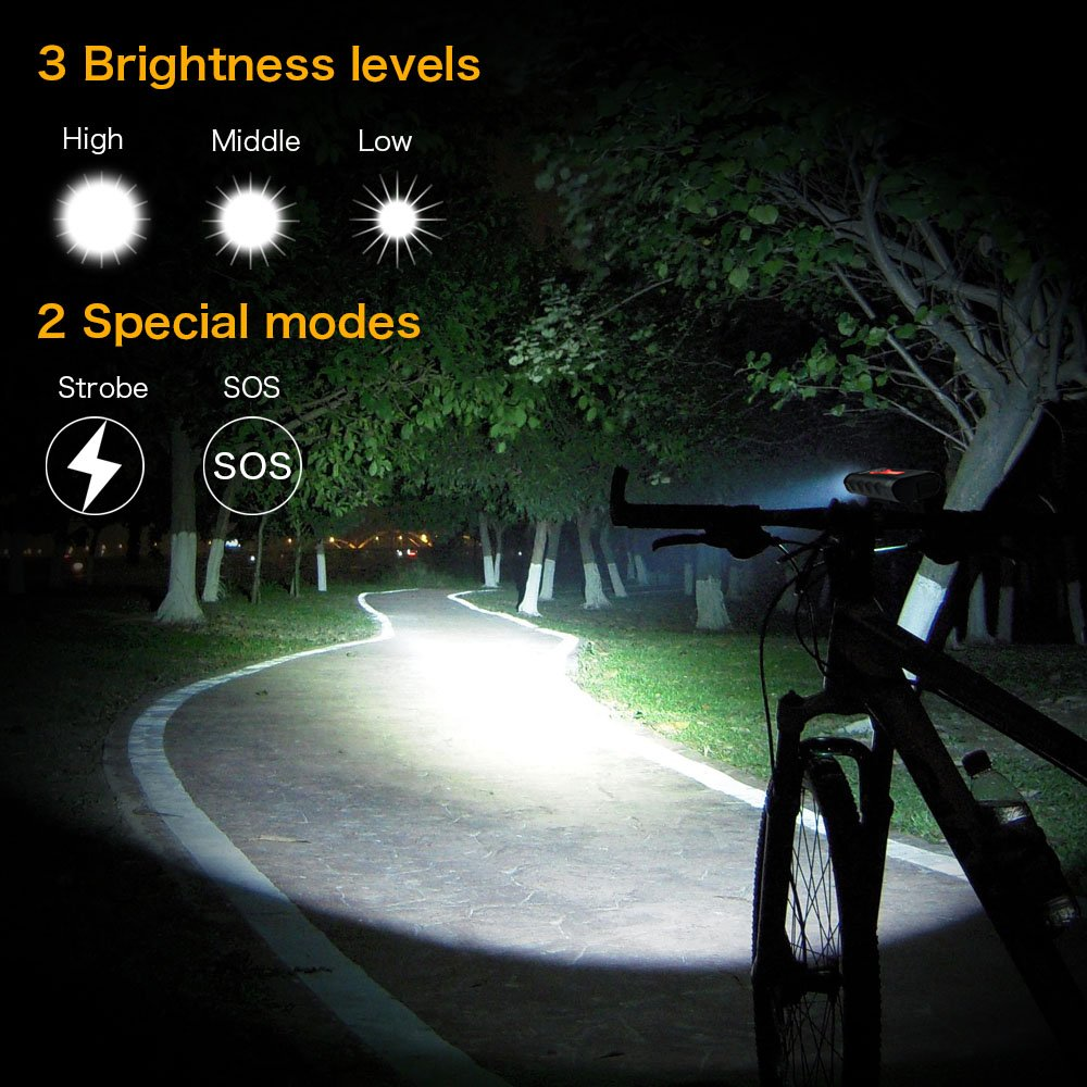 TANSOEN USB Rechargeable Bicycle Light Front and COB TAIL LIGHT Set, 1800 Lumens LED Lamp Bike Headlight -【Upgrade Front Bike Light Base】Bicycle Light Waterproof 5 Light Modes for Road Cycling Safety by TANSOREN (Image #2)