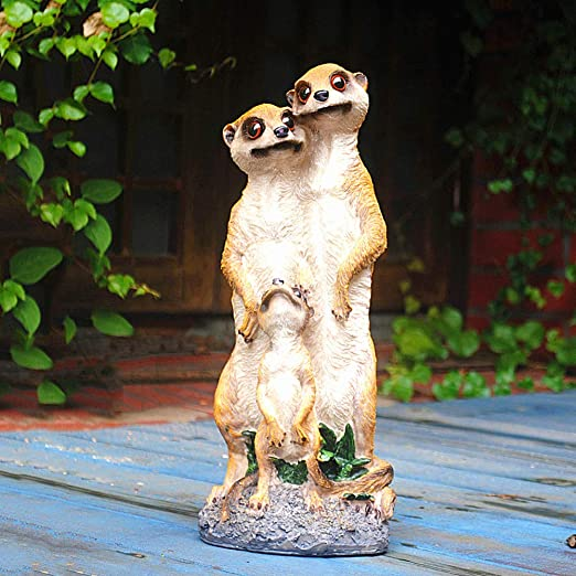 zenggp Figuras Familiares De Meerkat De Resina Maciza Decoración De Jardín Moldeada Pequeña,A+15 * 36cm: Amazon.es: Hogar