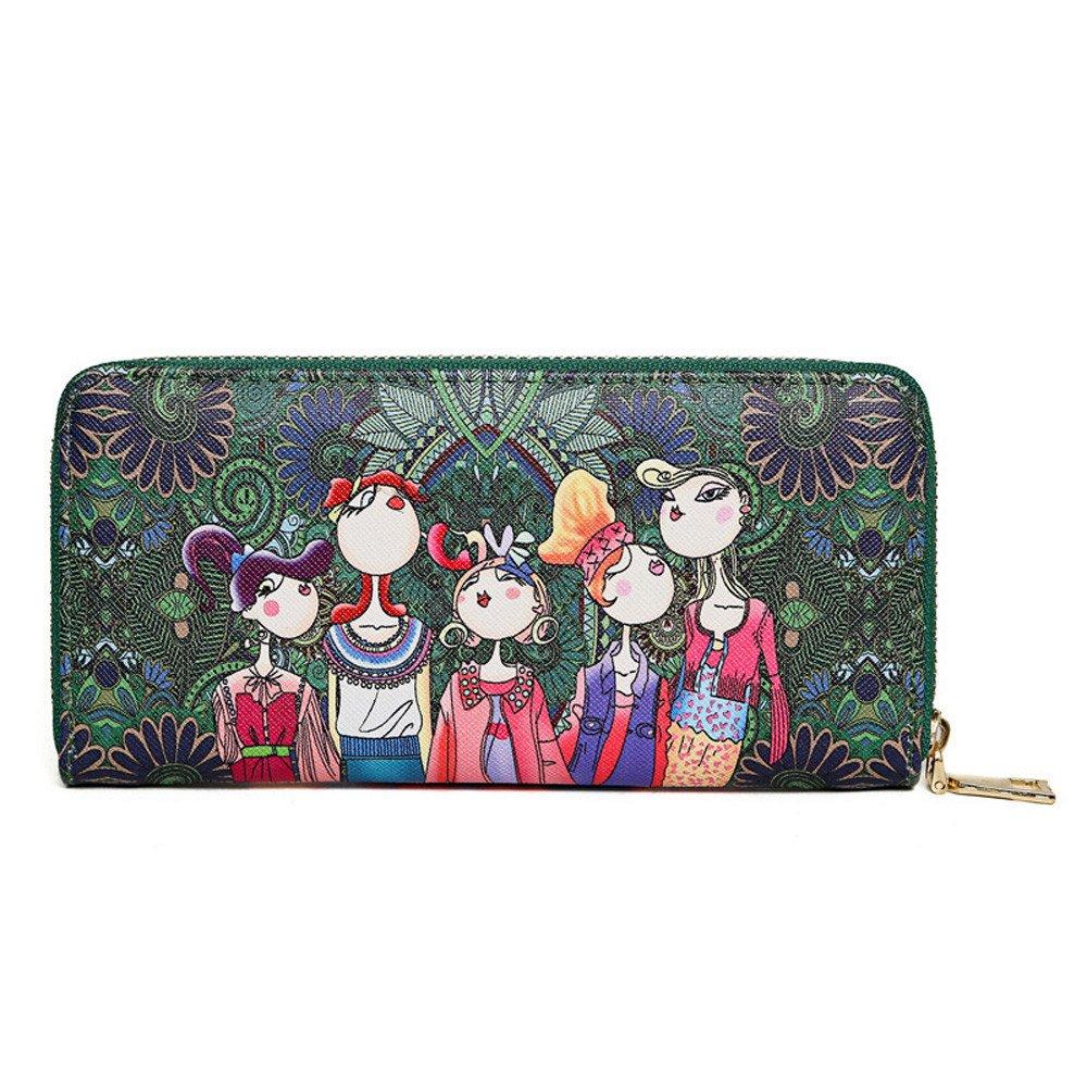 Vegan Cute Forest Girls Graphic Wallet Rectangular Zipper Wallets Clutch for Girls Ladies