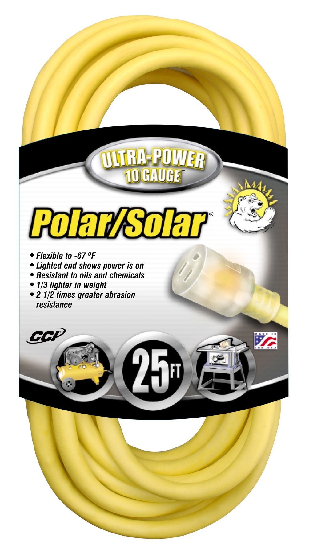 Polar/Solar 1787 10/3 15-Amp SJEO Outdoor Extension Cord with Lighted End, 25-Foot