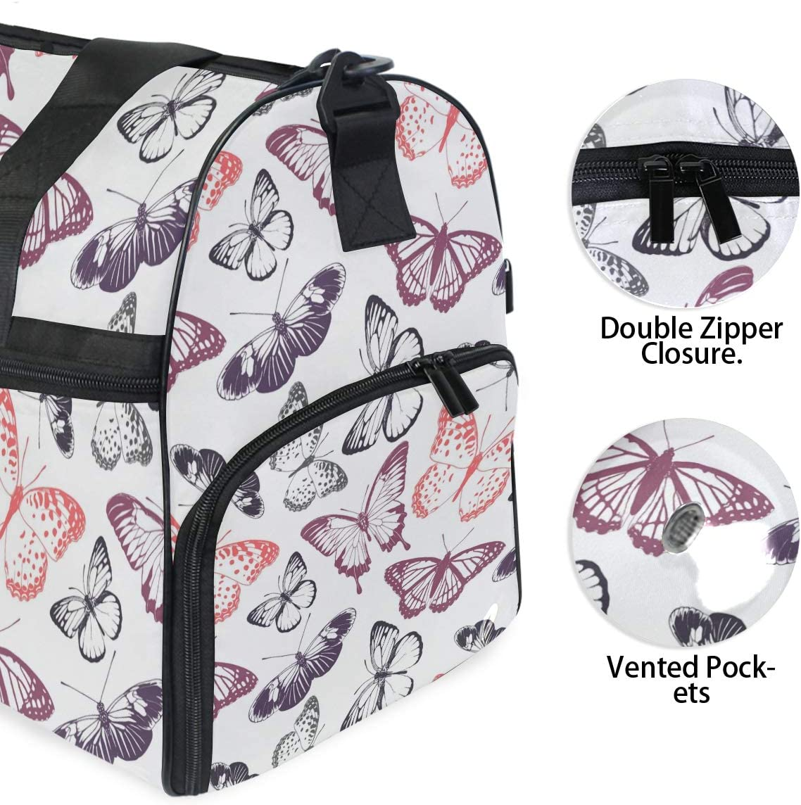 FANTAZIO Butterflies Seamless Pattern Sports Duffle Bag Gym Bag Travel Duffel with Adjustable Strap