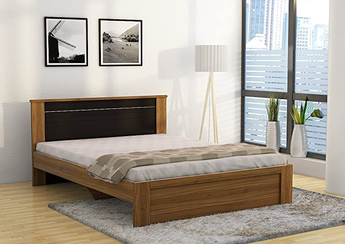 Spacewood Uno Queen Size Engineered Wood Bed  Particle Board   Natural Teak  Beds  Frames   Bases