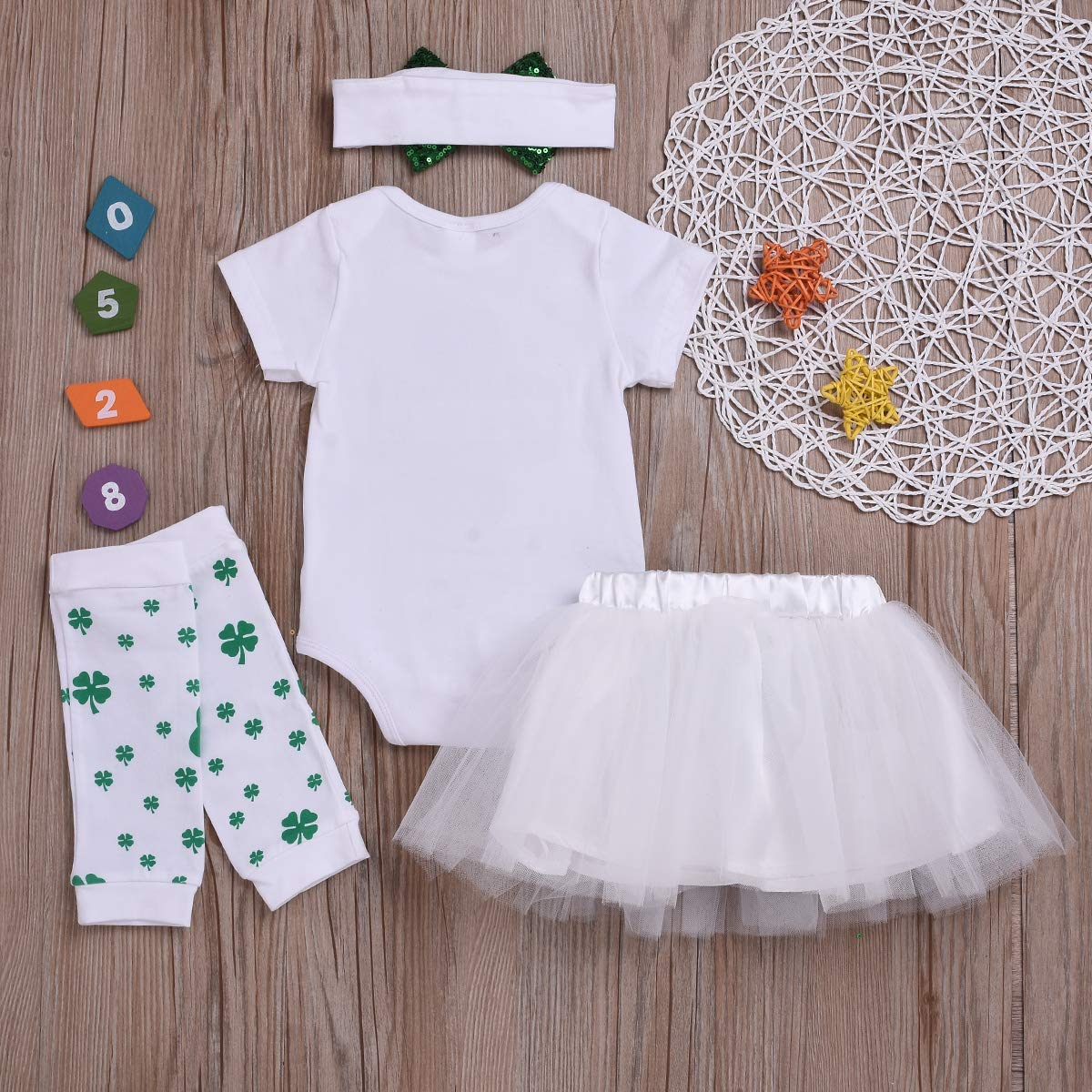 SWNONE My 1ST St.Patricks Day Baby Girls Clothes Shamrock Rompers Tutu Tulle Skirt and Headband Outfits Set White