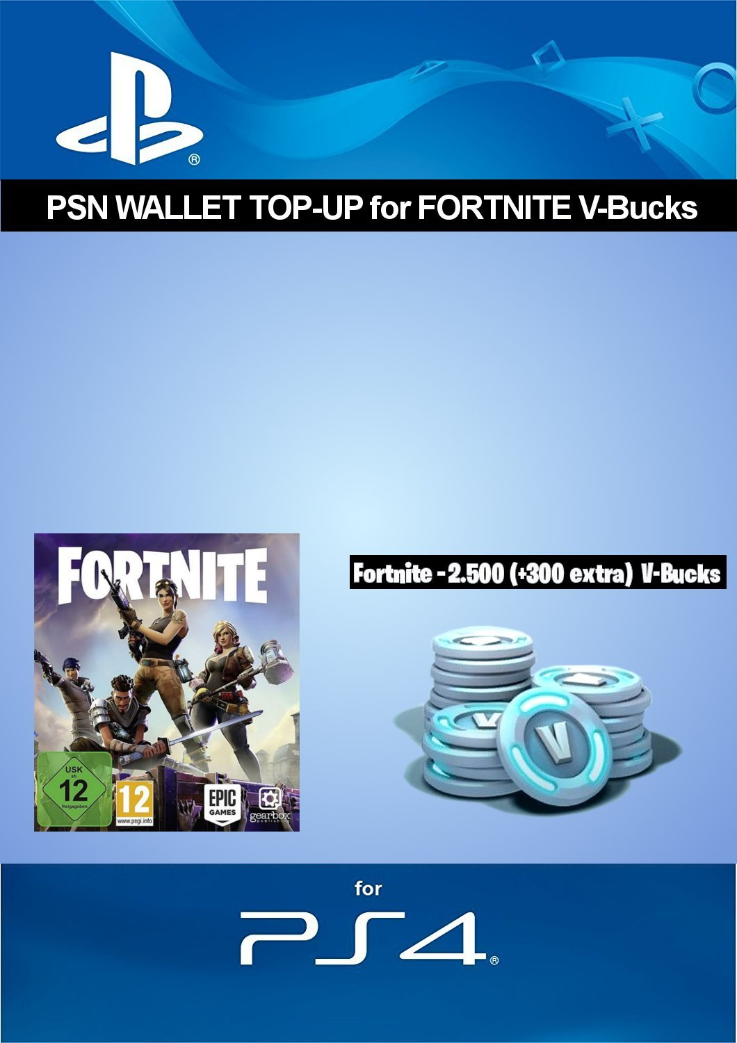 psn credit for fortnite 2 500 v bucks 300 extra v bucks 2 800 v bucks dlc ps4 download code uk account amazon co uk pc video games - how much does vbucks cost in fortnite