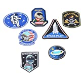 Hexawata Mixed Embroidered Astronaut Space Appliques Sew Iron On Patches 7Pcs