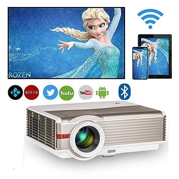 LCD Vídeo Proyector con WiFi, 5000 Lúmenes Full HD 1920x800 Nativo Proyector Cine en Casa Soporta Pantalla 200