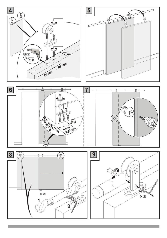 Stainless Steel Sliding Barn Wooden Door Hardware Track(8ft Single Door Kit) by SunGive (Image #1)