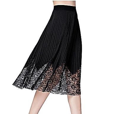a12bdf1c9a9 spyman Fashion Women s Lace Patchwork A Line Pleated Midi Skirt Plus Size  X-5XL (